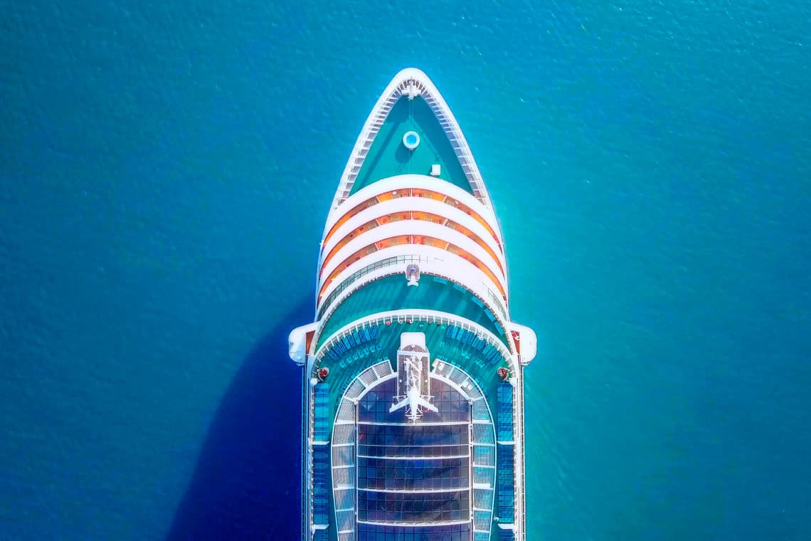 top-down view of a Royal Caribbean Group cruise ship